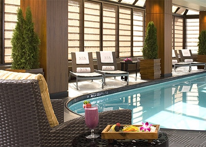 The elegant pool at The Peninsula Spa by ESPA in NYC