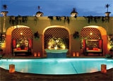 A poolside cabana at The Spa at the Beverly Wilshire