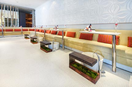 Patches of moss and rows of birch trees give the nail salon at Le Posh Salon & Spa in Los Angeles a tranquil feel