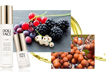 Doll Face skincare uses a variety of natural ingredients such as fruit and berry oils for their vitamins and enzymes
