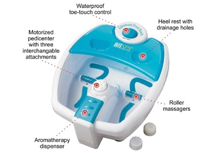 The Hot Spa Ultimate Foot Bath provides aromatherapy and massages to tired feet