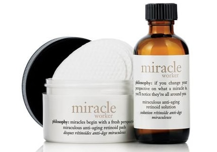 Apply Philosphy Miracle Worker Retinoid Pads easily once a night before bed