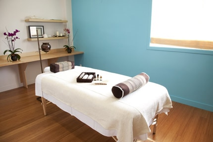 Turquoise Treatment Room at RakSa, one of seven, based on the seven chakras