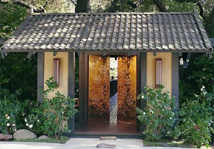 The famed golden entry doors at Golden Door in San Marcos, California