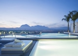 The infinity pool and and view of Sierra Helada Mountains at the SHA Wellness Clinic in Alicante, Spain