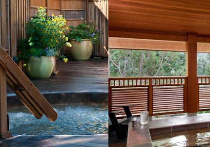 Relax Japanese-style in one of the many hot tubs at Ten Thousand Waves