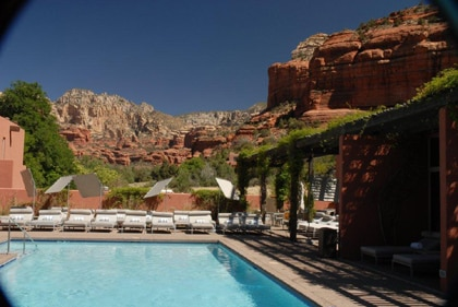 Mii Amo Spa at the Enchantment Resort in Sedona, Arizona is surrounded by picturesque Red Rock Canyon