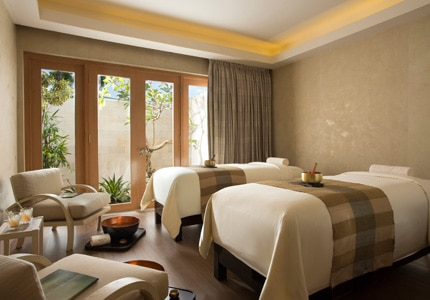 A couples treatment room at Mulia Spa in Bali, Indonesia