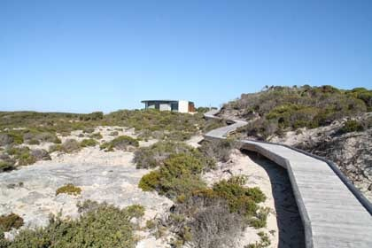 Elevated plank walkways protect the landscape at the eco-friendly Southern Spa at Southern Ocean Lodge on Kangaroo Island, Australia