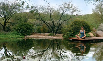 A woman in a yoga pose at Canyon Ranch Spa in Tucson, Arizona