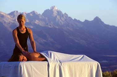 A woman receives a massage at Wilderness Adventure Spa at Spring Creek Ranch in Jackson, Wyoming
