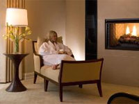 A relaxing lounge at the spa with a fireplace