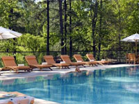 The outdoor heated pool at The Umstead Hotel & Spa in North Carolina