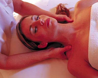 A woman receives a massage at Castle Bath in Carlsbad, Czech Republic