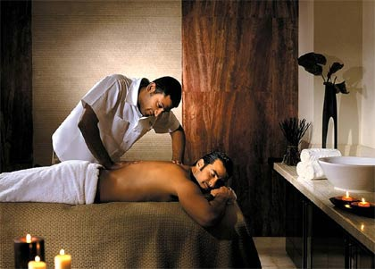 A man receives a masage at the Spa and Wellness Center at the Four Season Doha in Qatar