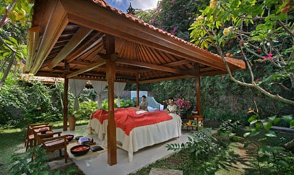 Outdoor treatment area of Febri's Spa in Bali, one of GAYOT's Top 10 Value Spas Worldwide