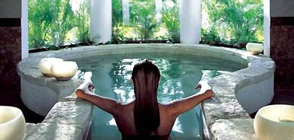 A woman relaxes at the Kinan Spa in Mexico