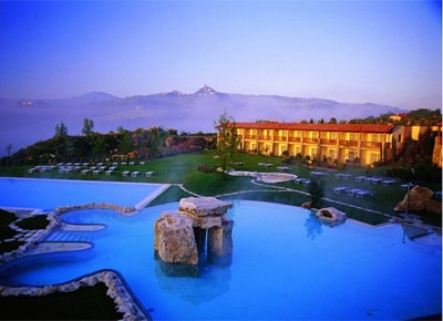 Relax in the warm thermal waters at Adler Thermae Spa Resort in Tuscany, Italy