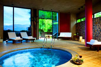 Every Vineyard View Suite at the Patios de Cafayate Hotel and Spa in Argentina features a whirlpool and patio