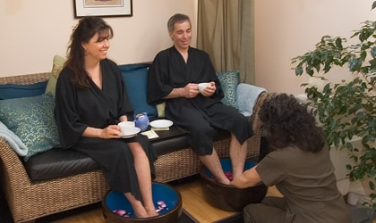 A couple receives foot treatments at Waterstone Spa in Oregon