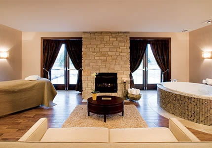 A spa suite at Aspira Spa in Elkhart Lake, Wisconsin