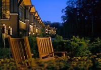 Relax in a rocking chair at The Lodge at Woodloch in western Pennsylvania