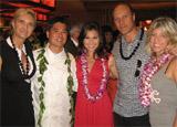 Sophie Gayot, Roy Yamaguchi, Victoria Recaño, Alain Gayot and Inger Ostrom at Roy's in Pasadena