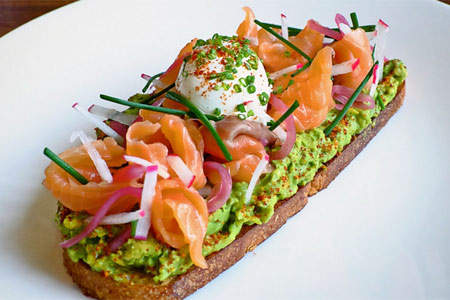 Smoked salmon avocado toast at Baltaire