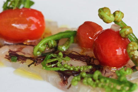 Onaga crudo is among the spring dishes at Chef Mavro