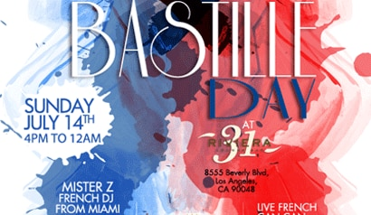 "The ""French Tuesdays"" Bastille Day event will take place July 14th at the Riviera 31 Lounge Bar"