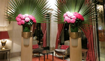 The Hotel Plaza Athenee lobby and its famous flowers