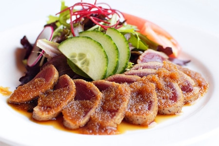 Enjoy tuna steak salad at The Izaka-Ya By Katsu-ya during Hungry for Tokyo restaurant month