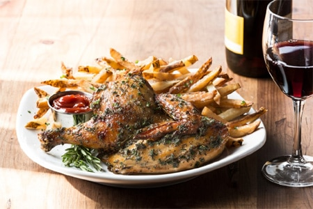 Roast chicken and frites from the Frites Grill menu at Mimi's Cafe