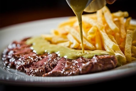Steak frites as served at Relais de Paris in Beverly Hills