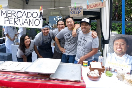 Ricardo Zarate (right) and his team at the 2015 Cochon 555 competition in Los Angeles