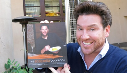 Chef Scott Conant with The Scarpetta Cookbook