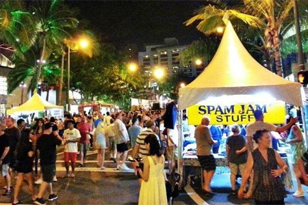 The Waikiki Spam Jam is a festive annual street festival taking place April 30