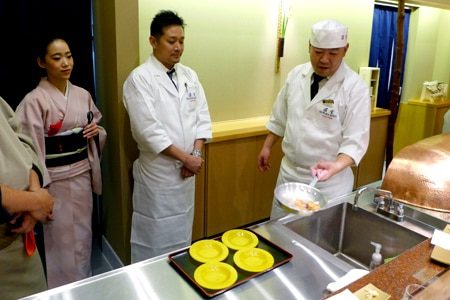 The chef prepares tempura at the first U.S. outpost of Tempura Yasaka Endo from Kyoto, Japan