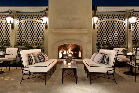 The terrace at The Belvedere features an outdoor fireplace
