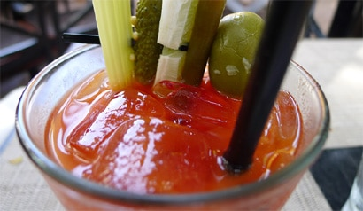Bloody Mary at the Sunday brunch buffet at Wilshire Restaurant