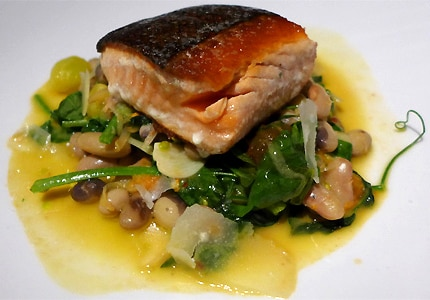 Wild king salmon at Tar & Roses in Santa Monica, CA, one of GAYOT's top restaurants for American cuisine
