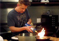 "Culinary designer Richard Blais on the set of the Science Channel's ""Blais Off"""