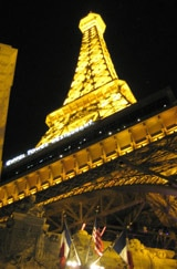 Eiffel Tower restaurant at Paris Las Vegas looms over the Las Vegas Strip