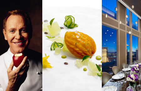 From left to right: chef Patrick OConnell from The Inn at Little Washington, abalone salad from The French Laundry (photo by Deborah Jones) and Twist by Pierre Gagnaire in Las Vegas