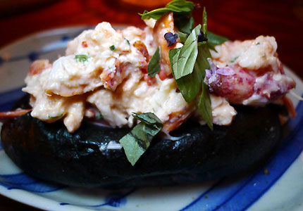 Lobster roll with green curry and Thai basil at Hinoki & the Bird in Los Angeles