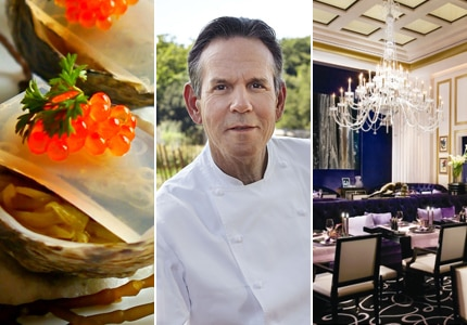 Oysters from Chef Mavro; chef Thomas Keller of The French Laundry; dining room at Joël Robuchon Restaurant