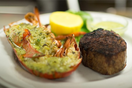Surf and turf at McKendrick's Steak House, one of GAYOT's Best Steakhouses in Atlanta