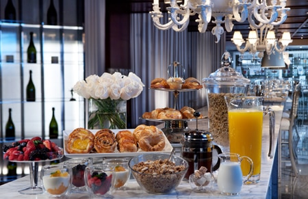 The brunch buffet at Tres at SLS at Beverly Hills, one of GAYOT's Top 10 Restaurants for Brunch in Los Angeles Area