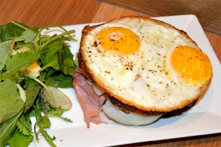 At The Squeaky Bean's bingo brunch, diners can enjoy a croque madame while competing to win prizes