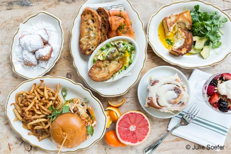 One of GAYOT's Top 10 Restaurants for Brunch in Houston, State of Grace offers brunch temptations like warm cinnamon rolls and blue crab omelets